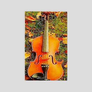 romantic fall leaves violin Area Rug