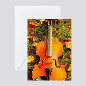 romantic fall leaves violin Greeting Cards