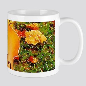 romantic fall leaves violin Mugs