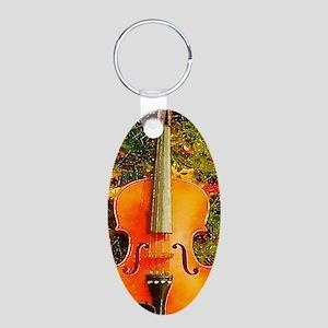 romantic fall leaves violin Keychains