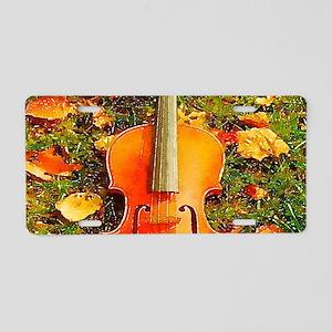 romantic fall leaves violin Aluminum License Plate