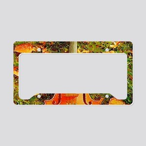 romantic fall leaves violin License Plate Holder