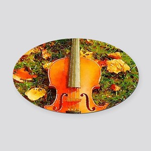 romantic fall leaves violin Oval Car Magnet