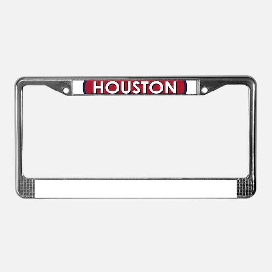 Houston White Red License Plate Frame
