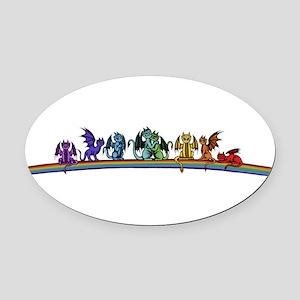 Rainbow Dragons Oval Car Magnet