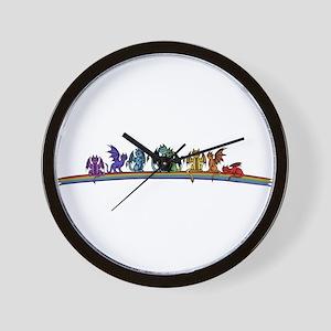 Rainbow Dragons Wall Clock