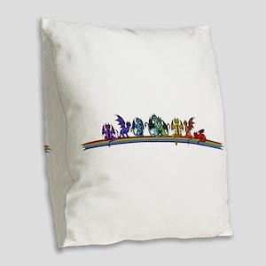 Rainbow Dragons Burlap Throw Pillow