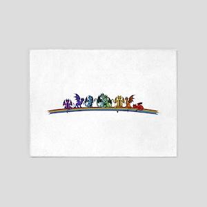 Rainbow Dragons 5'x7'Area Rug
