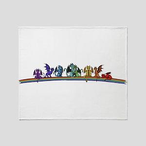 Rainbow Dragons Throw Blanket