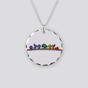 Rainbow Dragons Necklace Circle Charm