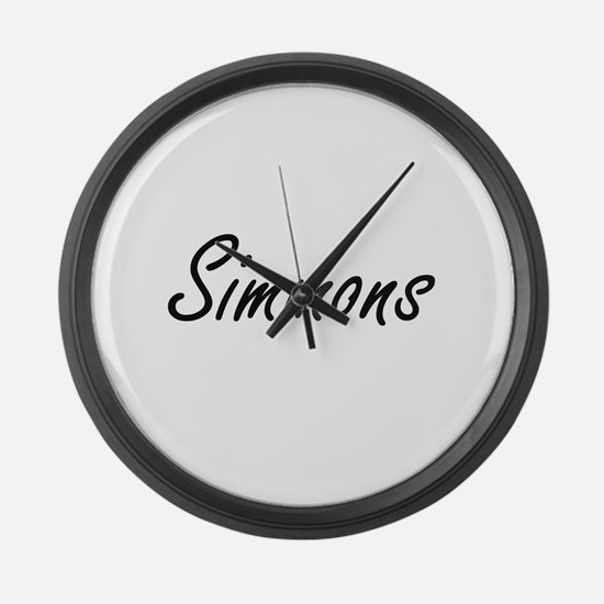 Simmons surname artistic design Large Wall Clock