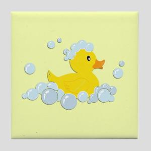 Yellow Rubber Duck Tile Coaster