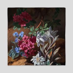 Alpen Blumen by Adele Schuster Queen Duvet