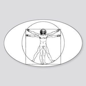 Da Vinci Vitruvian Man Oval Sticker