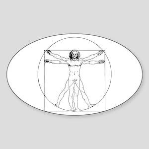 Da Vinci Vitruvian Man Oval Sticker