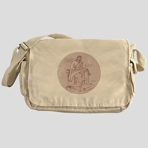 Evangelist Writing Scroll Etching Messenger Bag