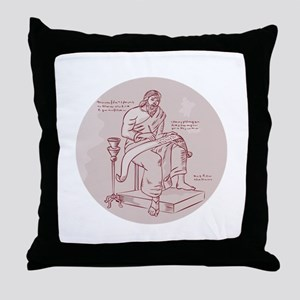 Evangelist Writing Scroll Etching Throw Pillow