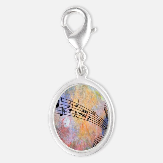 Abstract Music Silver Oval Charm