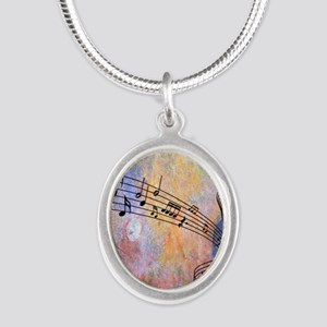 Abstract Music Silver Oval Necklace