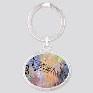 Abstract Music Oval Keychain