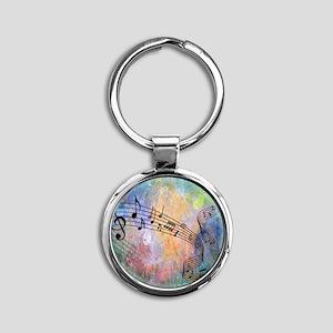 Abstract Music Round Keychain