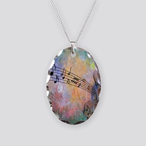 Abstract Music Necklace Oval Charm