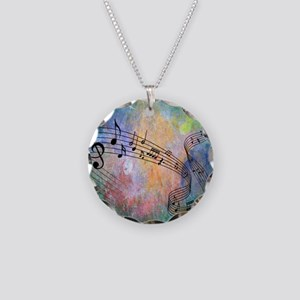 Abstract Music Necklace Circle Charm
