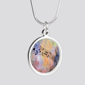 Abstract Music Silver Round Necklace