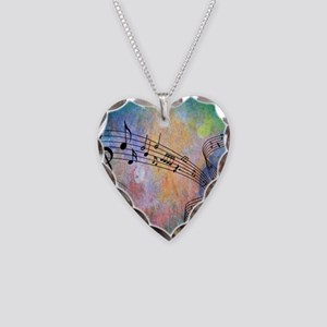 Abstract Music Necklace Heart Charm