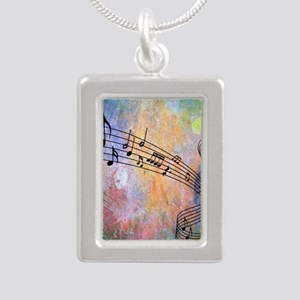 Abstract Music Silver Portrait Necklace