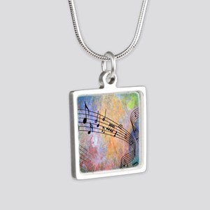Abstract Music Silver Square Necklace