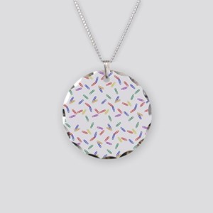 Rainbow Paperclips Necklace Circle Charm