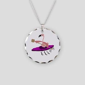 Pink Flamingo Kayaking Necklace Circle Charm