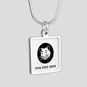 Personalized Hamster Silver Square Necklace