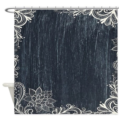 white lace black chalkboard shower curtain by listing store 62325139. Black Bedroom Furniture Sets. Home Design Ideas