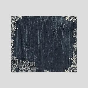 white lace black chalkboard Throw Blanket