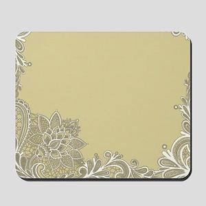 sage tan white lace Mousepad