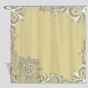 Sage Tan White Lace Shower Curtain