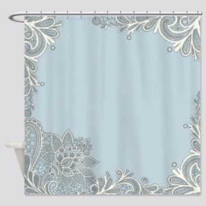 White Lace Pastel Blue Shower Curtain