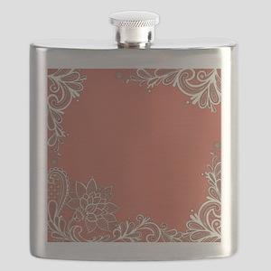 mandarin pink white lace Flask