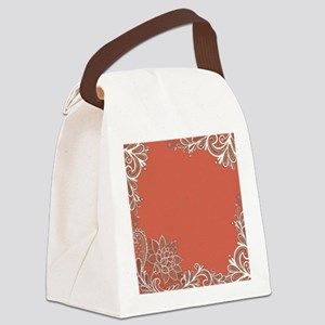 mandarin pink white lace Canvas Lunch Bag