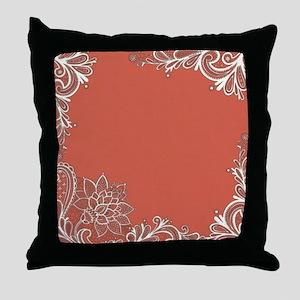 mandarin pink white lace Throw Pillow