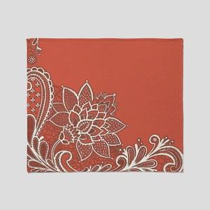 mandarin pink white lace Throw Blanket