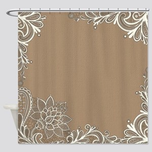 girly tan sand white lace Shower Curtain