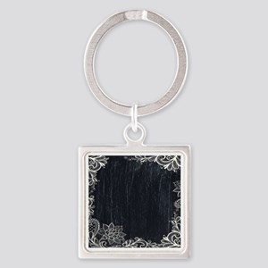 white lace black chalkboard Square Keychain