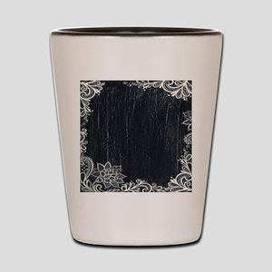 white lace black chalkboard Shot Glass