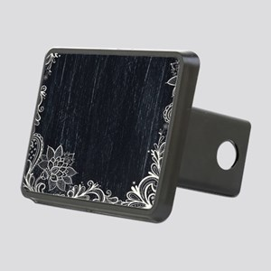 white lace black chalkboar Rectangular Hitch Cover
