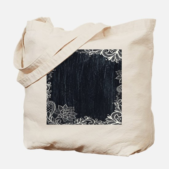 white lace black chalkboard Tote Bag