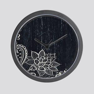 white lace black chalkboard Wall Clock