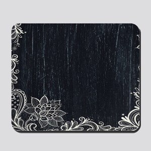 white lace black chalkboard Mousepad